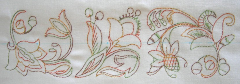 Redwork Triple Crewel Border